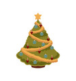 christmas tree with candles balls and garlands vector image vector image