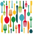 Colorful kitchen utensils background icon vector image