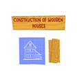 construction of wooden house eco building design vector image vector image