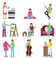 creative set of adult people and their hobbies vector image vector image