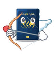 cupid blue passport in the cartoon form vector image vector image