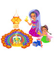 diwali indian holiday and mother with daughter vector image