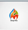 drop fire logo with colorful concept logo icon vector image