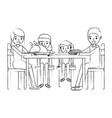 family smiling gathe sitting for dinner vector image