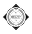 february minimalist icon design vector image
