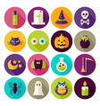 flat magic halloween witch circle icons set vector image vector image