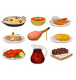 flat set of traditional spanish food and vector image vector image