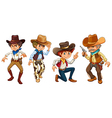 Four cowboys vector image vector image