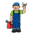 funny plumber or repairman with the tools vector image