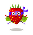 funny superhero humanized strawberry in a purple vector image vector image