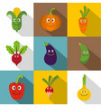 funny vegetables icons set flat style vector image