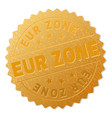 gold eur zone medal stamp vector image vector image