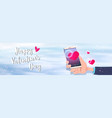 hand holding smartphone with red heart shape happy vector image