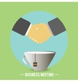 Handshake behind a cup of tea coffee vector image