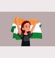 indian woman holding national flag cartoon vector image