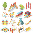 kids playground bright equipment isometric style vector image vector image