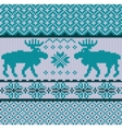 knitted background with christmas deers vector image vector image