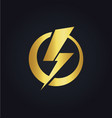 light bolt electric gold logo vector image