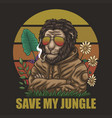 lion save my jungle retro vector image vector image
