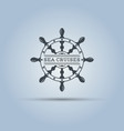marine helm wheel isolated label template vector image