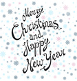 Merry Christmas and Happy New Year card with hand vector image vector image