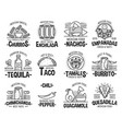 mexican cuisine and fast food icons vector image