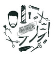 monochrome vintage barber shop elements concept vector image vector image
