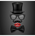 mustache bow tie glasses red girl lips vector image
