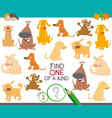 one a kind educational task with dogs vector image vector image