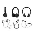 realistic black headphone icon set vector image