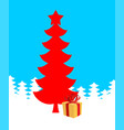 red christmas tree and gift of new year xmas vector image vector image