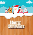 Santa Claus Animals On Wood Fence vector image vector image