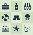 season icons set with suitcase starfish sea and vector image vector image