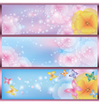 set horizontal floral banners vector image