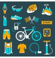 set of icons about cycling on a white vector image
