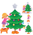 set of icons little girl opening christmas vector image vector image