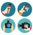 Set of icons with hands holding voice recorders vector image vector image