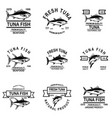 set of tuna fish labels design element for logo vector image vector image
