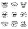 set tuna fish labels design element for logo vector image