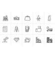 shopping and paying hand drawn outline doodle icon vector image