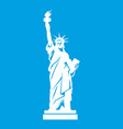 statue of liberty icon white vector image vector image