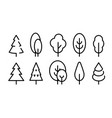 tall tree icons set simple flat line style vector image