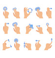 touch screen hand gestures touching screen vector image vector image