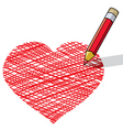 Vector illustration of pencil draws a heart