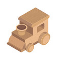 wooden train toy on white background vector image vector image