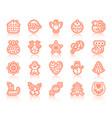 xmas gingerbread simple color line icon set vector image vector image