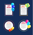 set happy birthday greetings frame balloon posters vector image