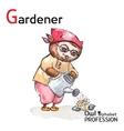 Alphabet professions Owl Letter G - Gardener vector image