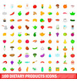 100 dietary products icons set cartoon style vector image vector image
