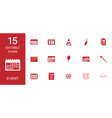 15 event icons vector image vector image